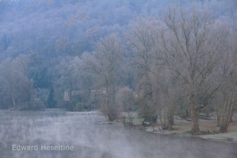 The Dordogne river bank in winter.
